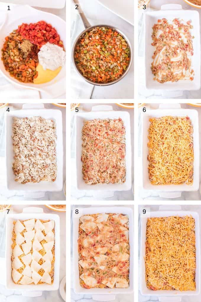 Collage of photos to make casserole