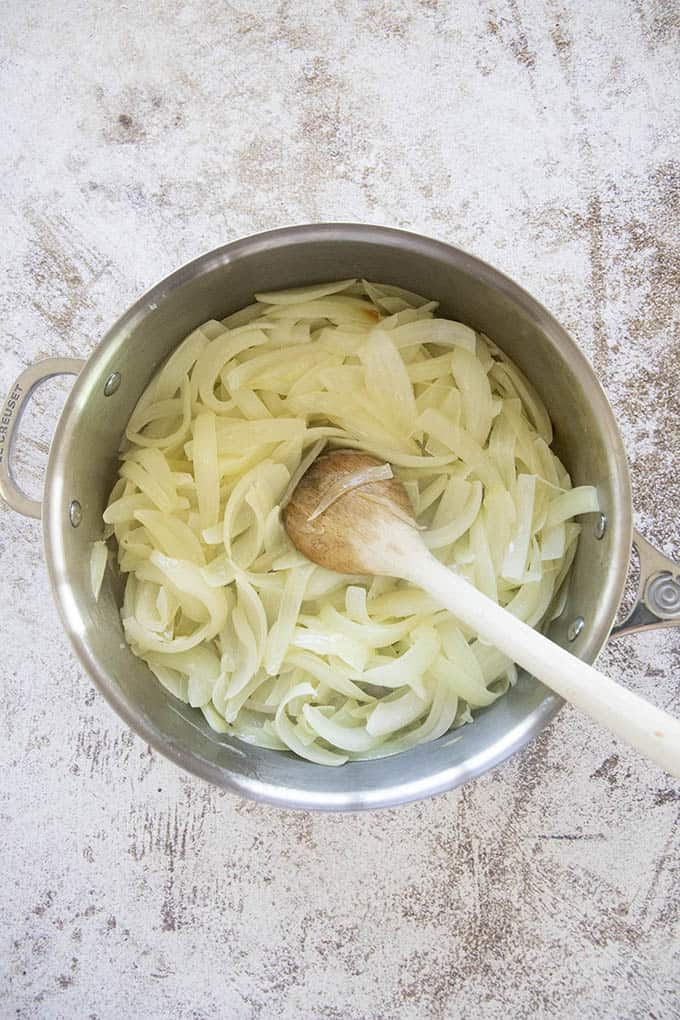 onions in pan