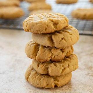peanut butter cookies in a stack