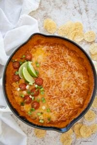 skillet of enchilada dip