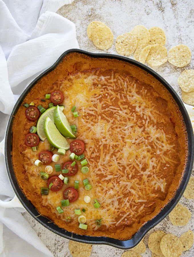skillet of enchilada dip