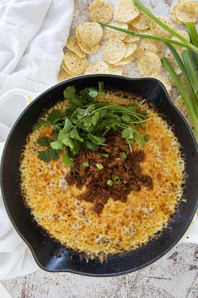 queso fundido recipe in cast iron skillet