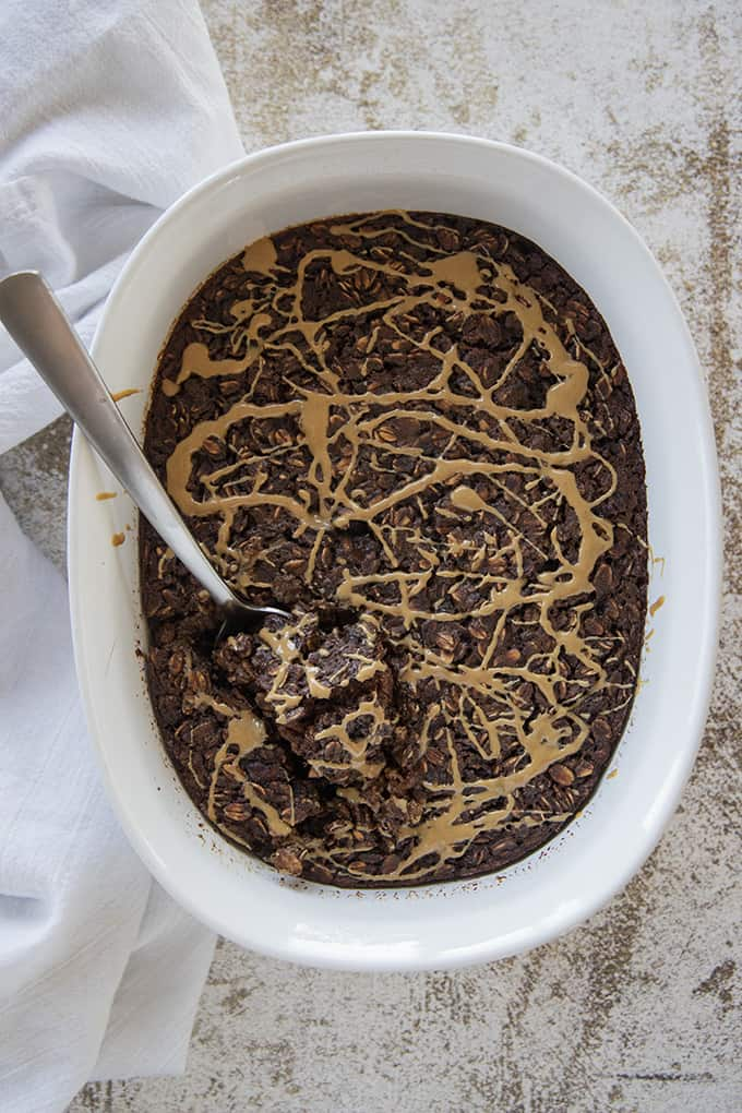 chocolate baked oatmeal in a pan