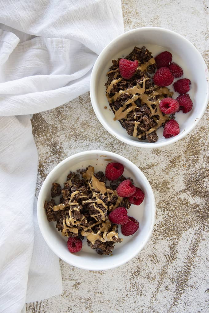 two bowls of baked oatmeal chocolate