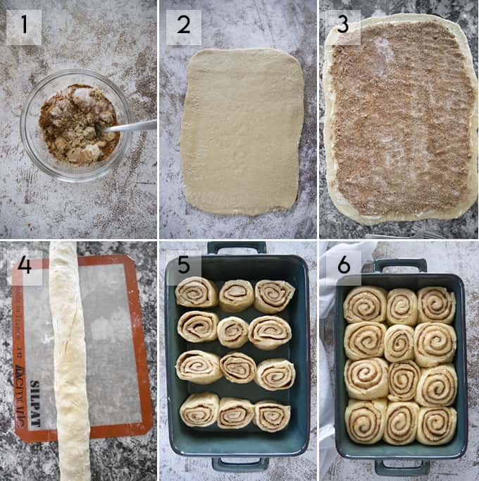 how to make cinnamon rolls from scratch collage 3