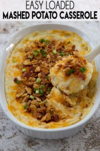 mashed potato casserole in a spoon