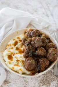 meatballs and gravy in bowl