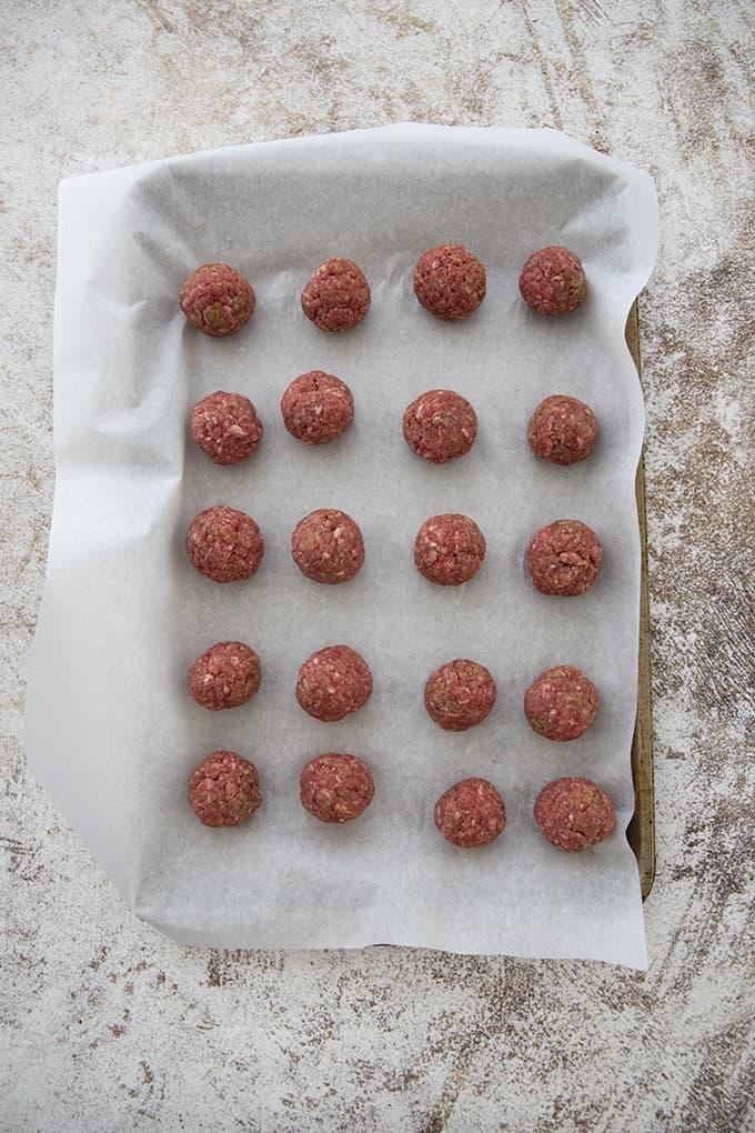 meatballs on a sheet pan