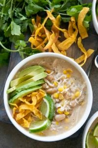 white chicken chili in a bowl