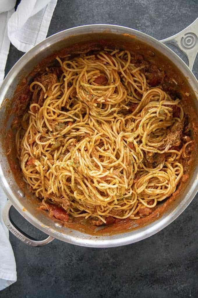 pot of bbq spaghetti