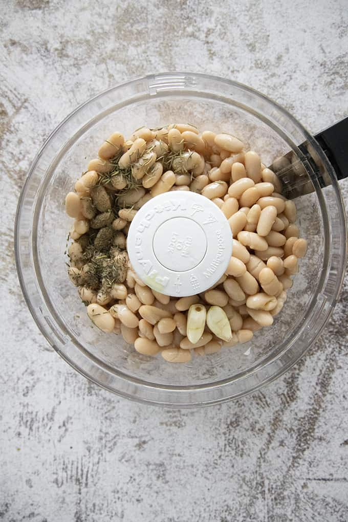food processor with white bean dip