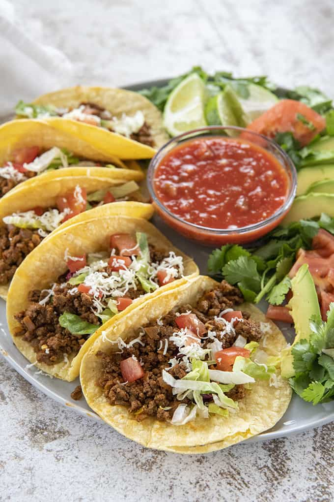 ground beef tacos on a plate