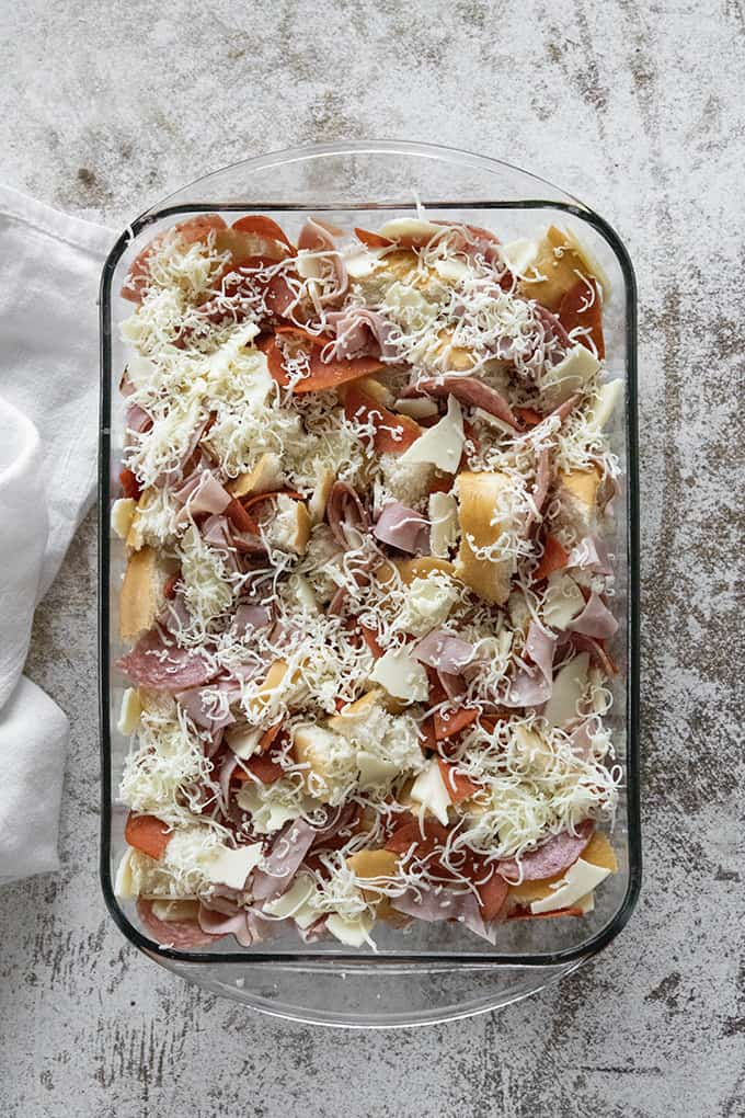 process shot italian sub casserole