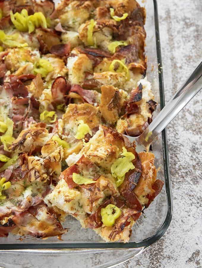 italian sub brunch casserole in pan