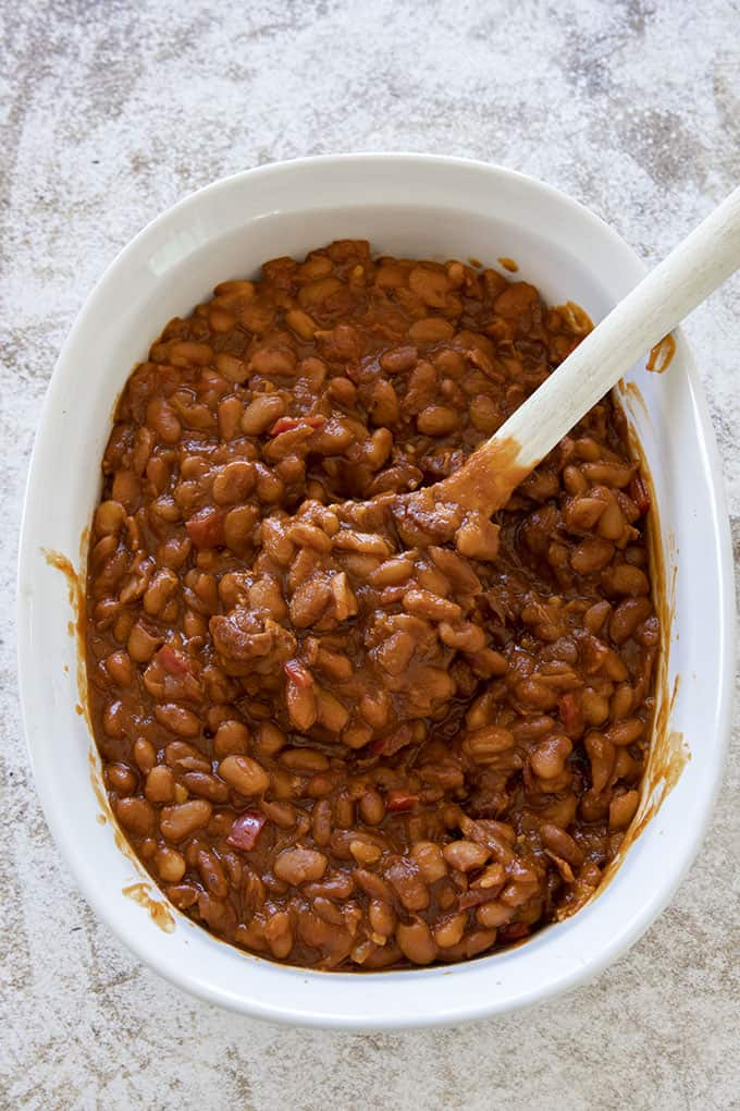 dish of baked beans