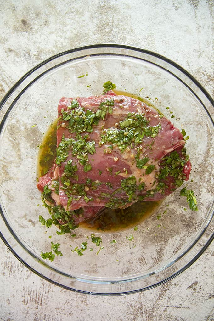 carne asada in marinade