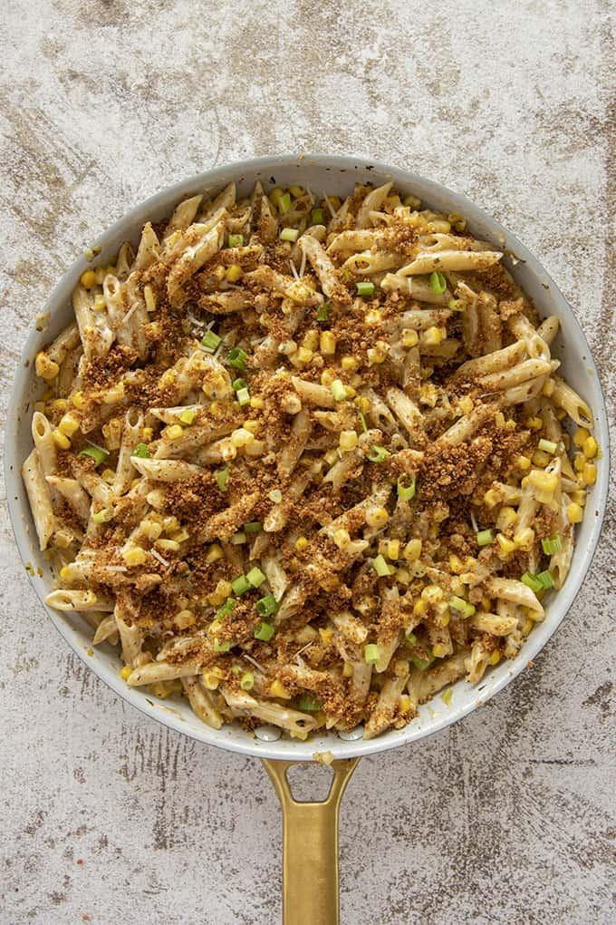 corn pasta in a pan