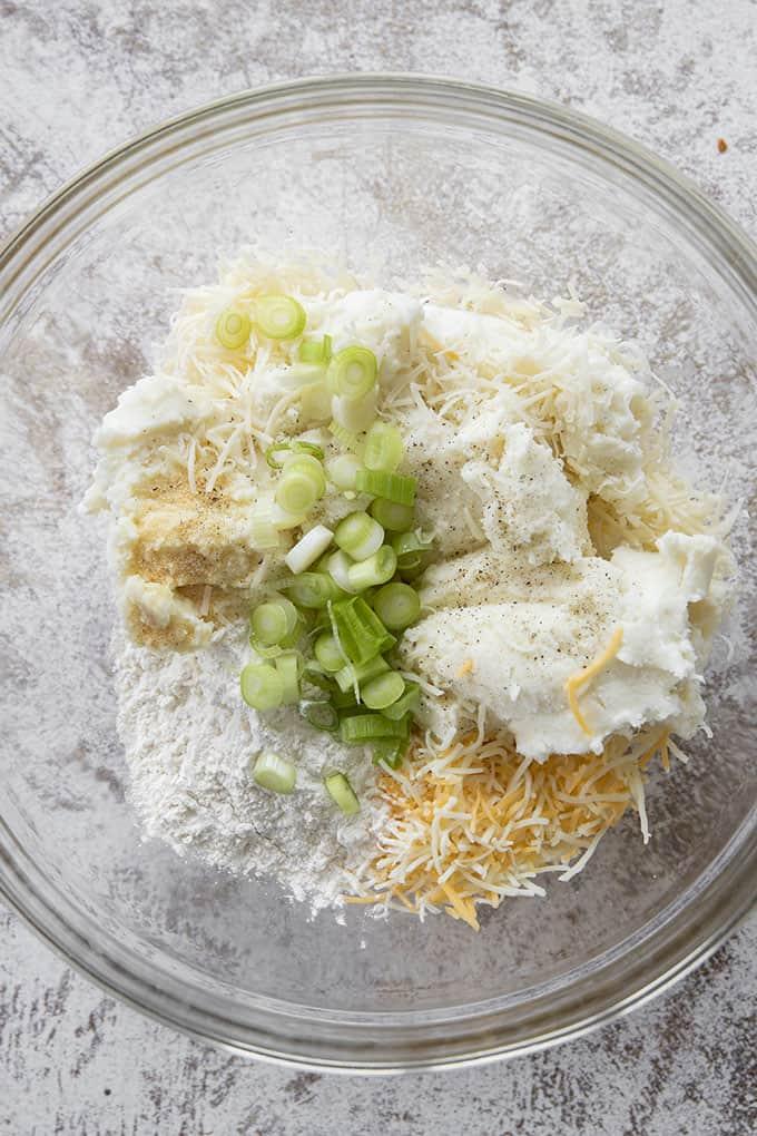 potato pancake ingredients in a bowl
