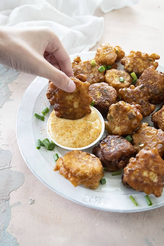 corn fritters and dipping sauce