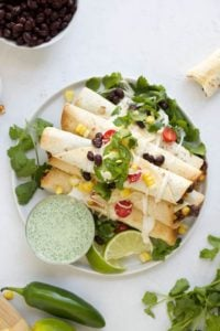 black bean taquitos on a plate