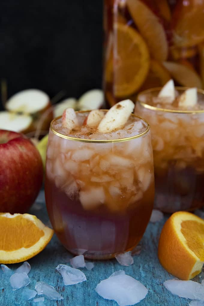 glass of fall sangria