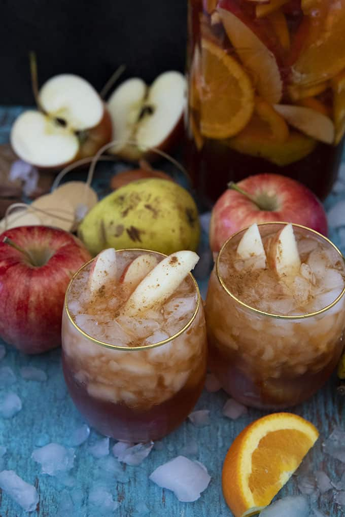fall sangria in a glass