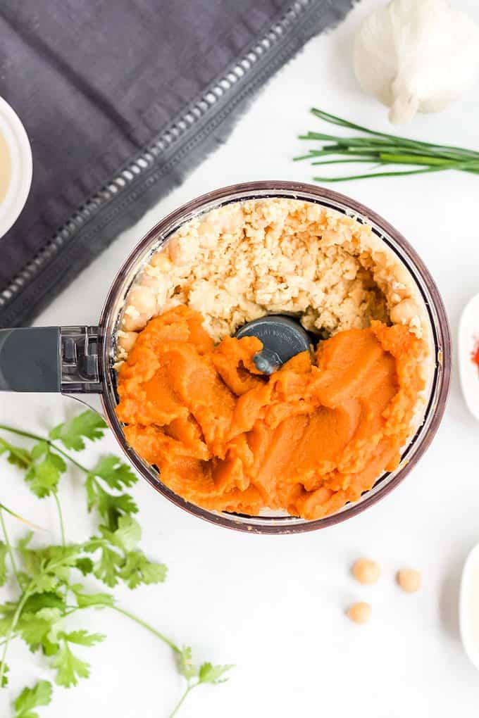 pumpkin hummus in food processor