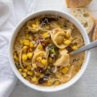 bowl of corn tortellini chowder