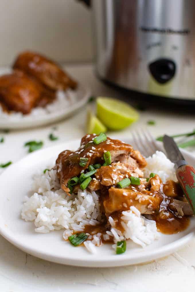 Crockpot poulet teriyaki sur assiette