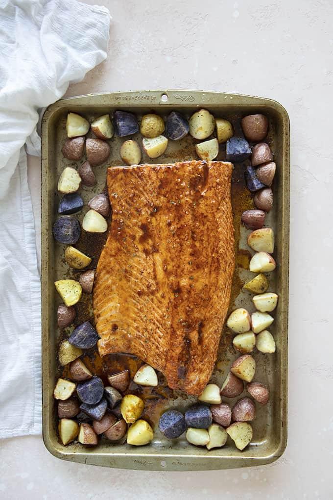maple salmon on a sheet pan