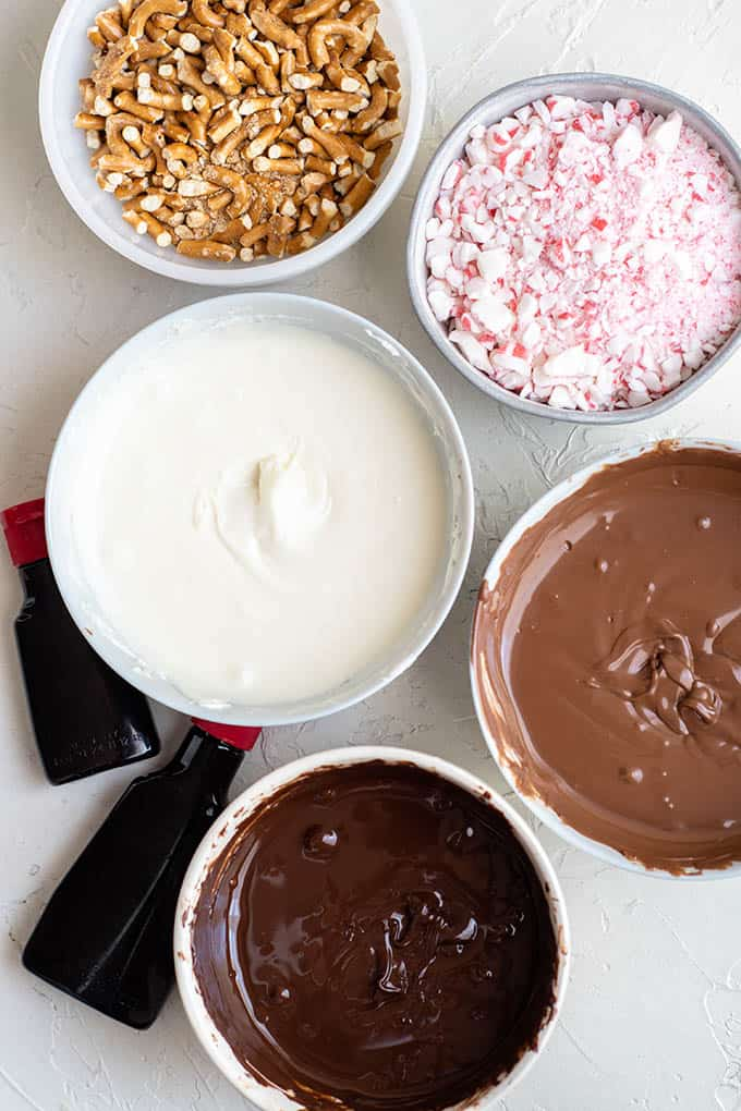 ingredients to make peppermint bark