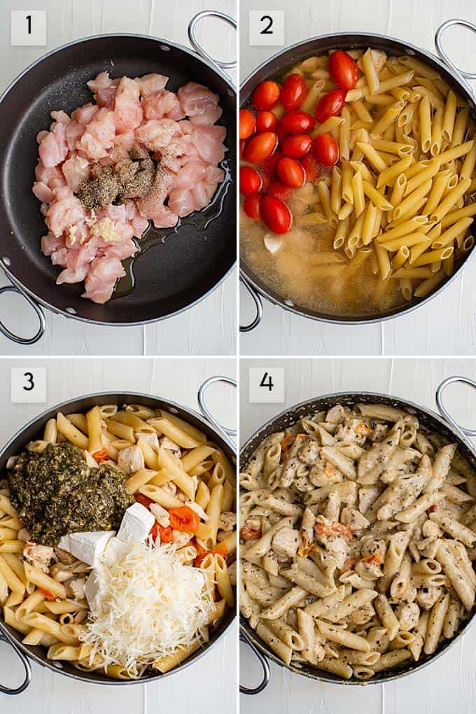 photo collage how to make chicken pesto pasta
