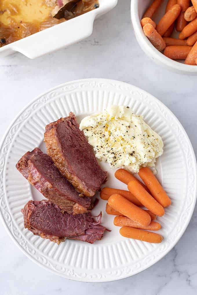 plate of instant pot corned beef