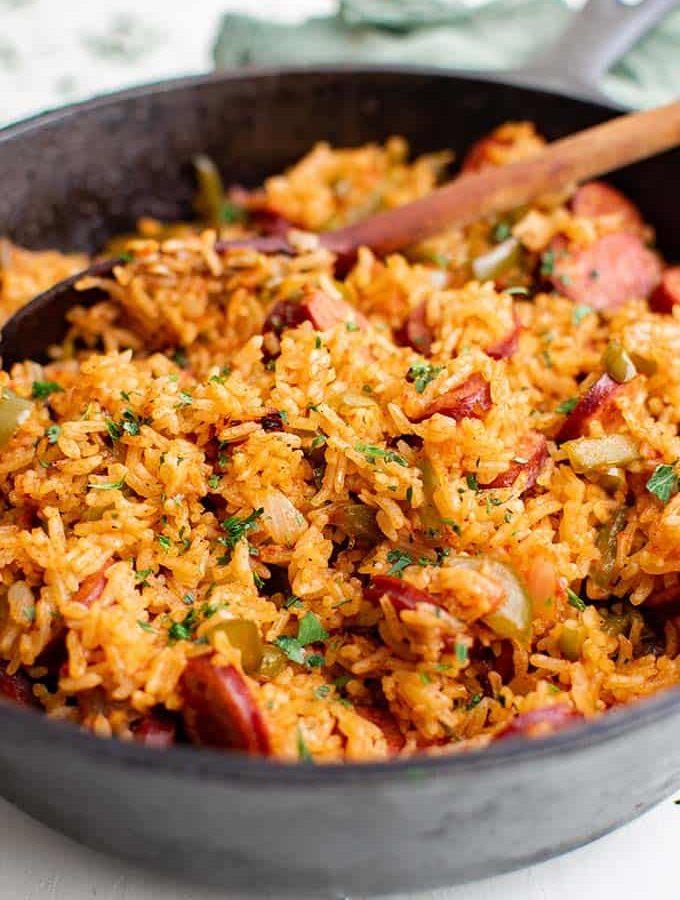 smoked sausage and rice