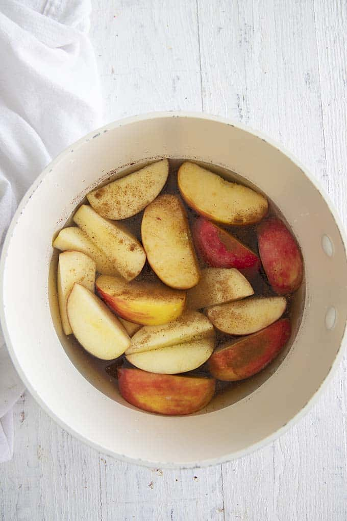 brown sugar apple syrup in a pan