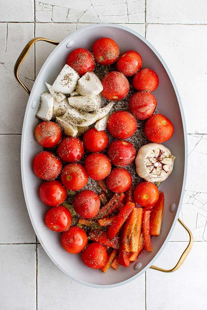 roasted tomatoes on a pan