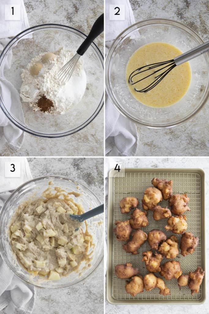 how to make apple fritters photo collage