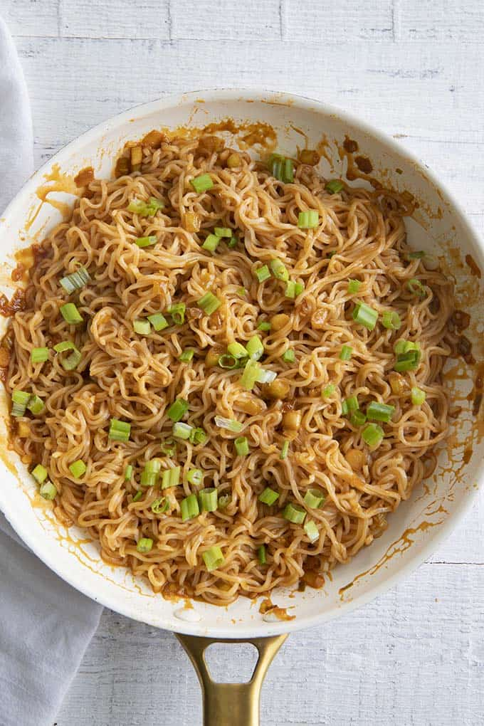 spicy noodles in a skillet