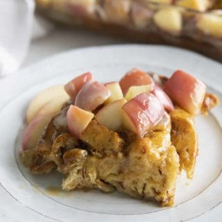 caramel apple french toast on a plate